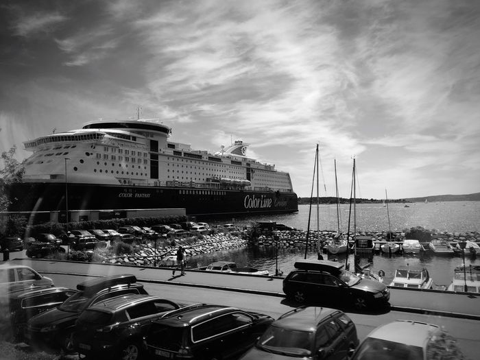Color line 🚢 Mode Of Transport Built Structure Blackandwhite Ship Car No People Water Sky Cloud - Sky Day Outdoors Norway Oslo