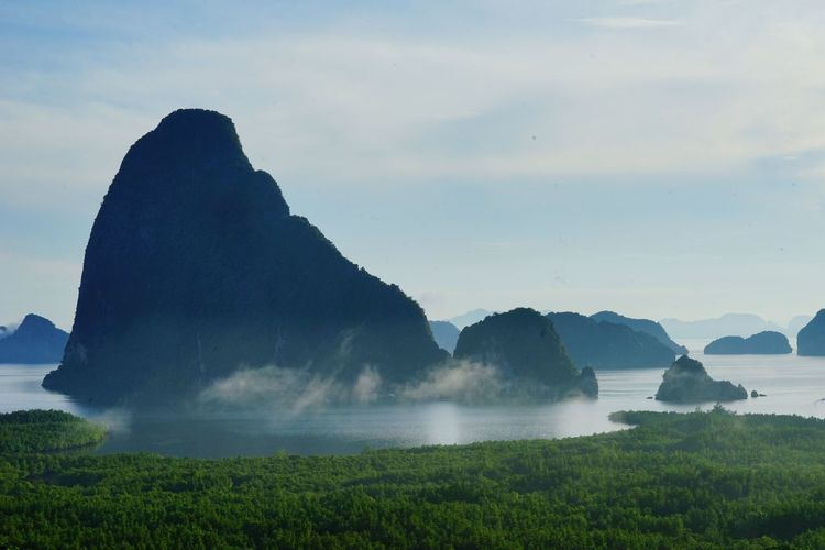 Water Mountain Nature Outdoors Landscape Fog No People Lake Scenics Grass Beauty In Nature Day Freshness Mountain Peak MorningForest Dawn Backgrounds Pine Tree Phang-nga Vacation Time Thailand
