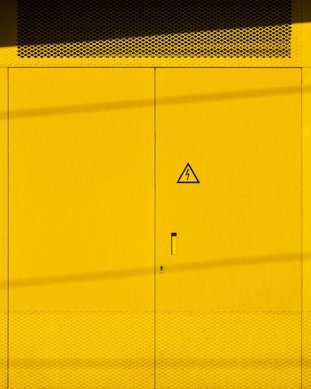 Sign on metallic door
