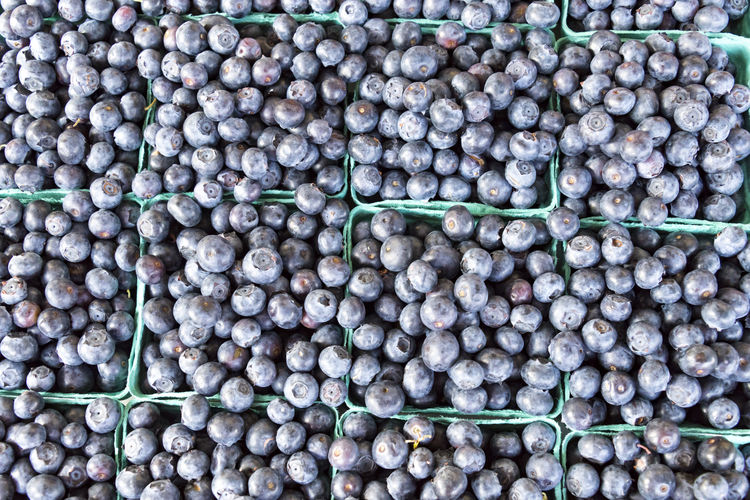 Full frame shot of blueberries for sale at market