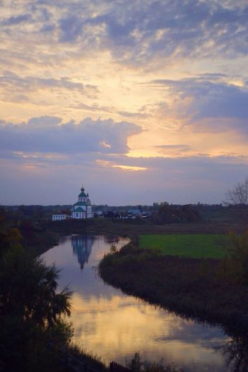 Architecture Sunset Built Structure Water Sky Church Reflection Cloudy Nature Tourism Russia View Welcometorussia Suzdal