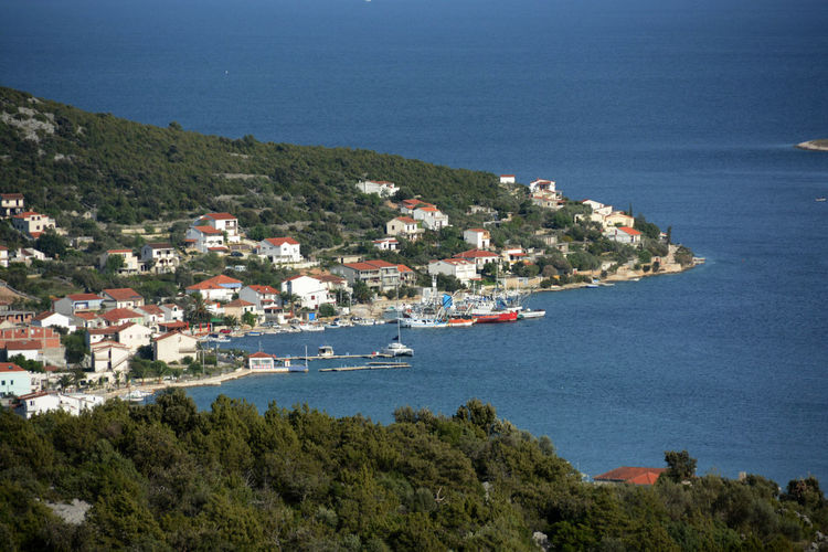Adria, Vinisce Adria Aerial View Boat Croatia Going Sailing Harbour Moored Nautical Vessel Port Sailing Sea Top Perspective Traveling Vinisce Water Waterfront