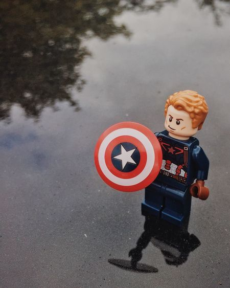 LEGO Legophotography Marvel Captainamerica Shield Reflection Front View HERO Pose Casual Clothing Redwhiteandblue