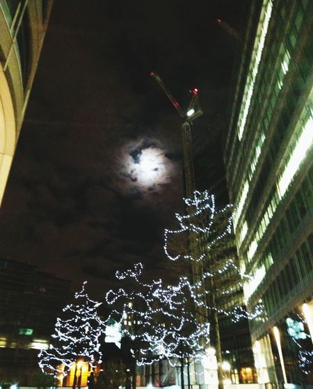 Manchester Night - Moon Tower Crane City Cityscapes Nightphotography Night Photography Night Sky Urban Urbanphotography Crane Crane - Construction Machinery Moon Moonlight Moonlight ♥ No1 Spinningfields Night Illuminated Tree Low Angle View Outdoors Christmas Decoration No People