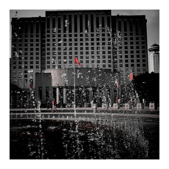 water drops Water City Vignette Art Shanghai, China Warerdrops CityLifeStyle City Street People Red Sky And Clouds Red Sky Sun Springtime Spary Pesticide Spary Sparying Drop Of Water