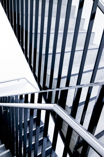 Modern Staircase with Railing. Architecture Modern Part Of Railing Stairs Steps Built Structure Color Design Indoors  No People Side View Staircase Steel Steel Structure  Steps And Staircases