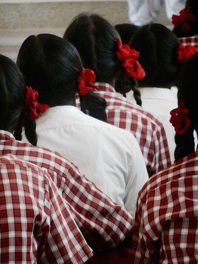 Rear view of schoolgirls in classroom