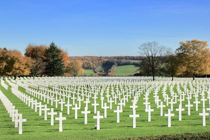 Row of cemetery against clear sky