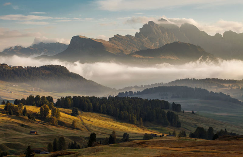 The beauty of Dolomite Mountains in autumn. Italy - Europe. Alpine Alps Autumn Beautiful Nature Beauty Dolomite Dolomites Europe Foggy Italy Landscape Morning Mountain National Park Nature Outdoor Tourism Travel