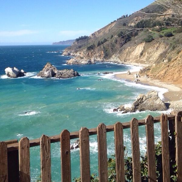California highway Sea Water Tranquil Scene Scenics Horizon Over Water Blue Beauty In Nature Tranquility Sky Mountain Railing Idyllic Nature Fence Non-urban Scene Shore Turquoise Colored Majestic Day Outdoors