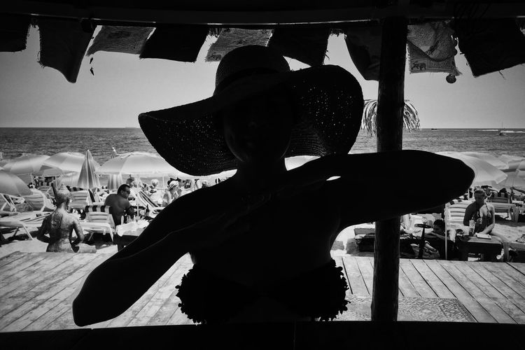 Beach Beach Life Beach Photography Beachphotography Close-up Hat Horizon Over Water Sea Shore Sky Smile Tina Rips Tinarips Tranquility Water Woman Woman Hat Woman In Hat Woman In Hat Shadow Woman Silhouette Dancing Woman Sillouette Wooman Wooman Portrait Monochrome Photography Uniqueness