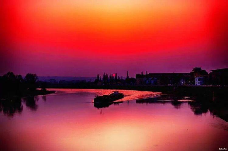 Sunset Dresden Elbufer Afterglow