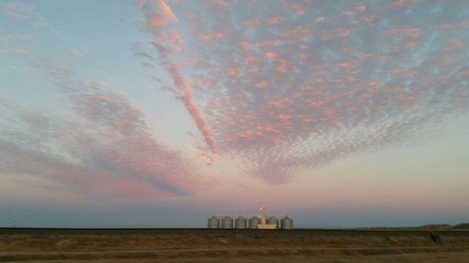 Silo Pink Clouds Beautiful Sky America Sunrise