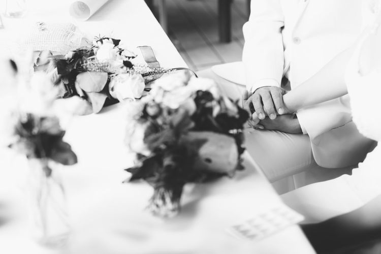 Groom Happiness Happy Wedding Wedding Photography Blackandwhite Bouquet Flower Holding Human Hand Lifestyles Real People Selective Focus White