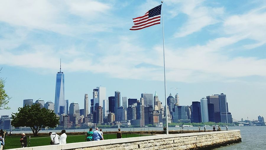 American flag in city