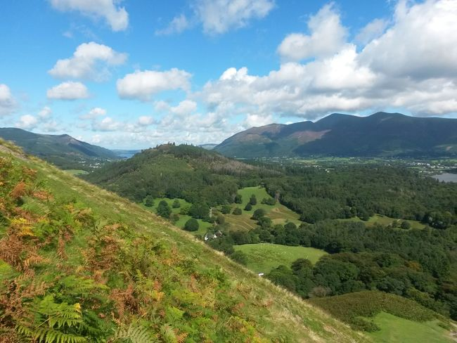Blue Sky, White Clouds Sunlight Green Grass Lush - Description Sunny Day The Lake District  Travel Destinations Mountain Landscape Nature Green Color Cloud - Sky Scenics Beauty In Nature Outdoors Growth Tranquil Scene No People