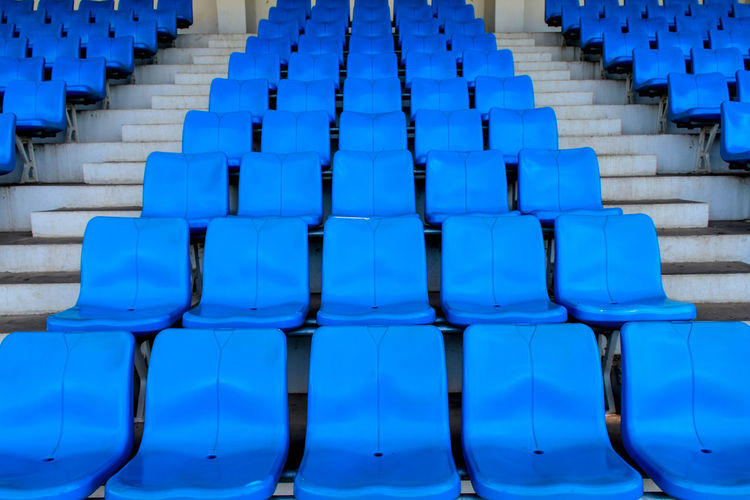 Amphitheater. plastic seat rows at the arena.