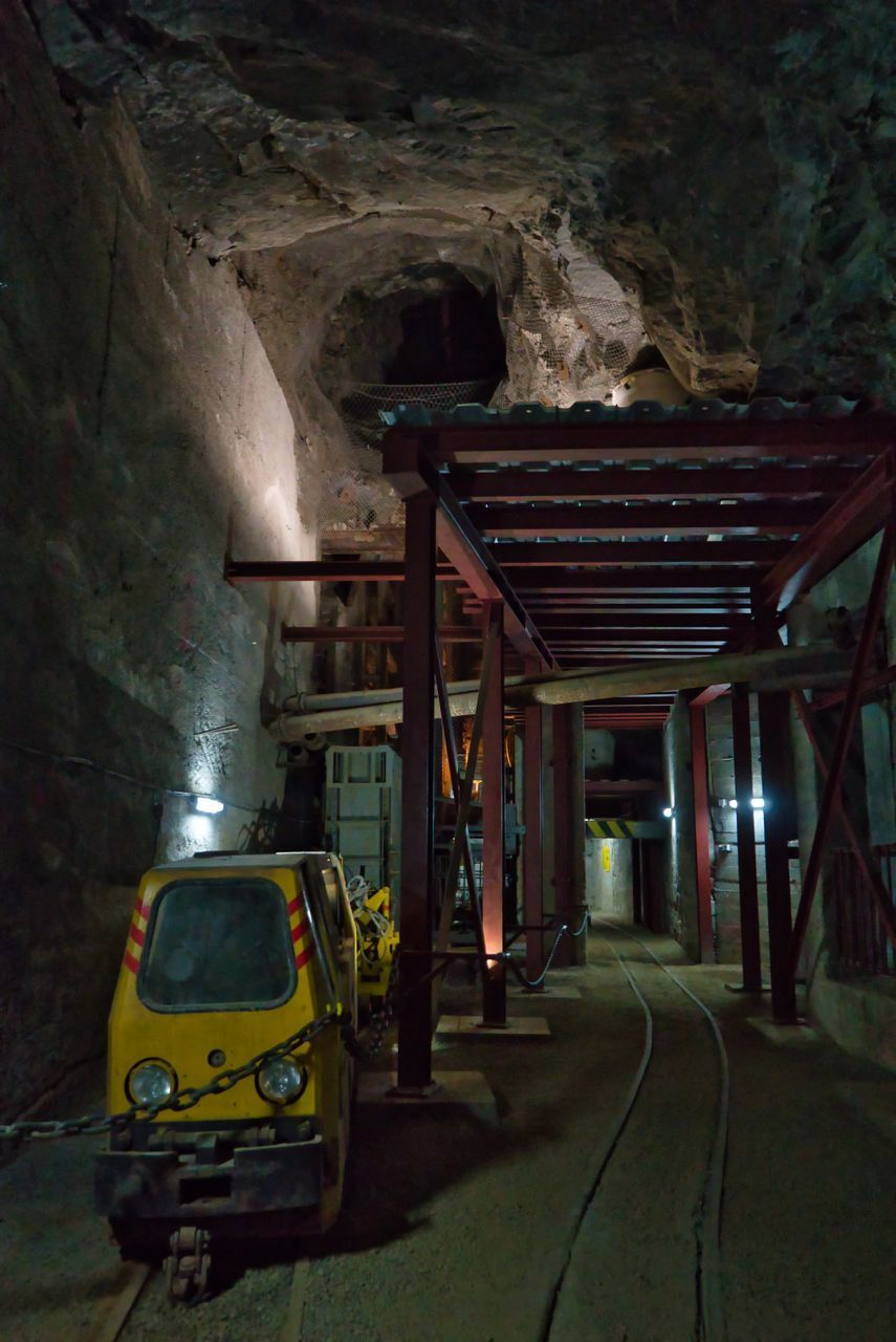 architecture, built structure, no people, transportation, indoors, the way forward, mode of transportation, direction, tunnel, illuminated, motor vehicle, land vehicle, car, nature, night, cave, public transportation, connection