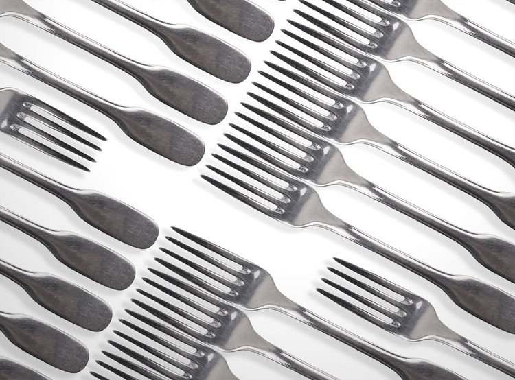All forks one, one fork all Agreement All For One, One For All! Close-up Conflict Counterposes Cutlery Division Faction Fork Fork Art Forks Kitchen Kitchen Art Kitchen Utensils Metal No People Opposite Directions Opposites Silver  Stainless Steel  Taste Understanding War