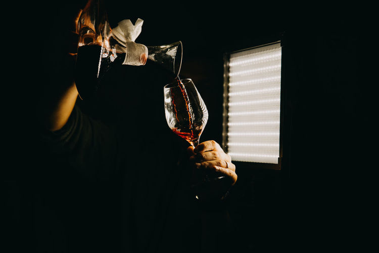 Midsection of woman holding wineglass in darkroom