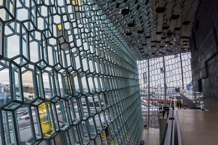 Harpa Concert Hall Architecture Building Built Structure Ceiling Glass Mirror Modern Modern Architecture Steel Wall Window