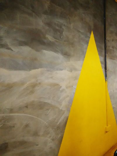 The background colors that blend together, makes something simple look unique Architecture Interior Design Triangle Yellow Grey Black White Plain & Simple Wall Art Art Artistic