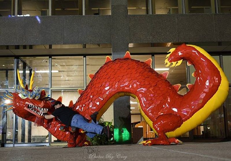 """Snack Time!"" Help! A little help over here!?! Artprize Artprize2015 Artprize7 Dragon Art Interactiveart"