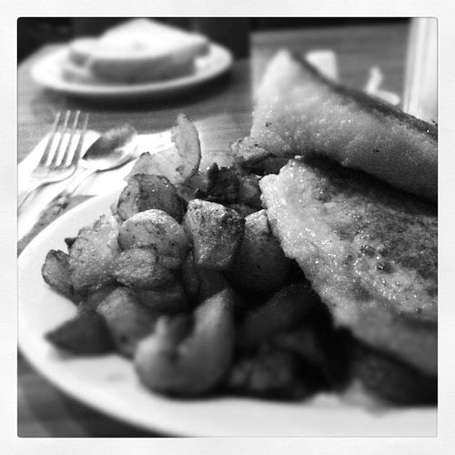 Breakfast for dinner. Peameal and eggs with hash towns and rye toast at Rainbow Restaurant, Oshawa.