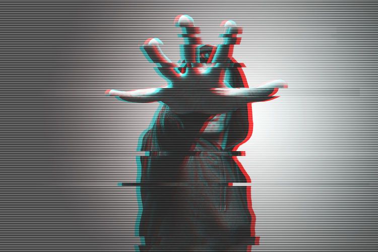 view of a man showing his hand hiding his face in a glitch effect Glitch Adult Arms Raised Body Part Finger Front View Gesturing Hand Hand Raised Human Arm Human Body Part Human Hand Human Limb Indoors  Internet One Person Pattern Standing Striped Studio Shot Threat Three Quarter Length Wall - Building Feature Women Young Adult