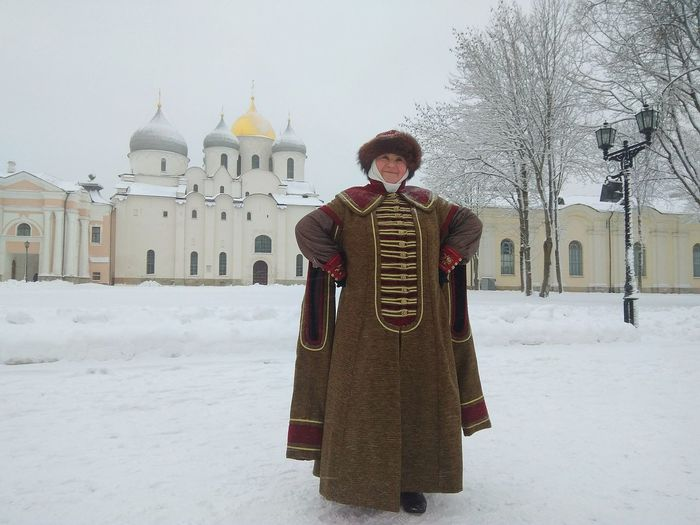 NovgorodtheGreat Novgorod Velikiy Novgorod Russia Religion Winter History One Person Adult Spirituality Rear View Snow Architecture Outdoors Cold Temperature People
