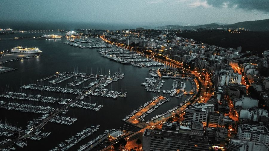 Drone night shot in palma de mallorca spain dji mavic night aerial Building Exterior Architecture City Built Structure Cityscape High Angle View Water Illuminated Building No People Transportation Nature Aerial View Dusk Sky Sea Outdoors Residential District Office Building Exterior Skyscraper Drone  Dji Mavi Mallorca Palma De Mallorca Mallet Urlaub Ferien City Life Night Harbour
