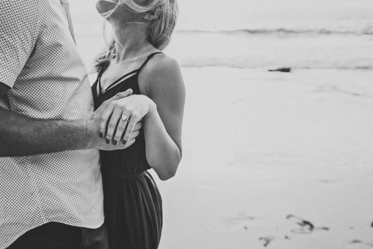 Couple Dancing Engaged Holding Hands Anticipation B & W  B&w Beach Beachphotography Black And White Film Bonding Close-up Embrace Film Photography Holding Human Hand In Love Lifestyles Midsection New Life Real People Standing Togetherness Touching Two People