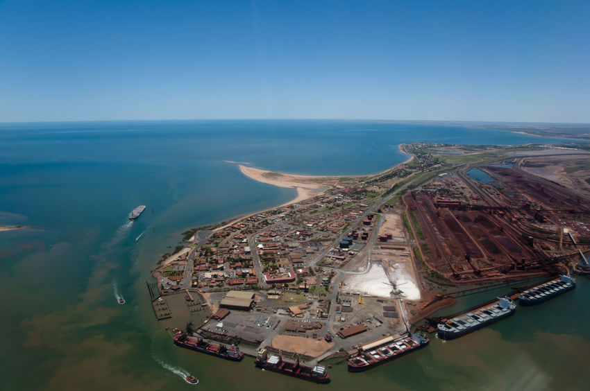 Port Hedland - Australia Australia Harbor Loading Dock Port Hedland Aerial View Iron Ore Nautical Vessel Port Water