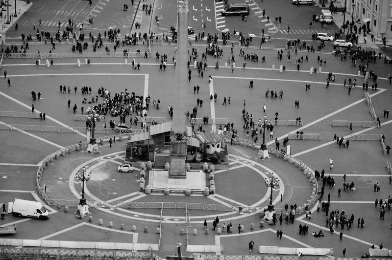 High angle view of tourists at st peter square