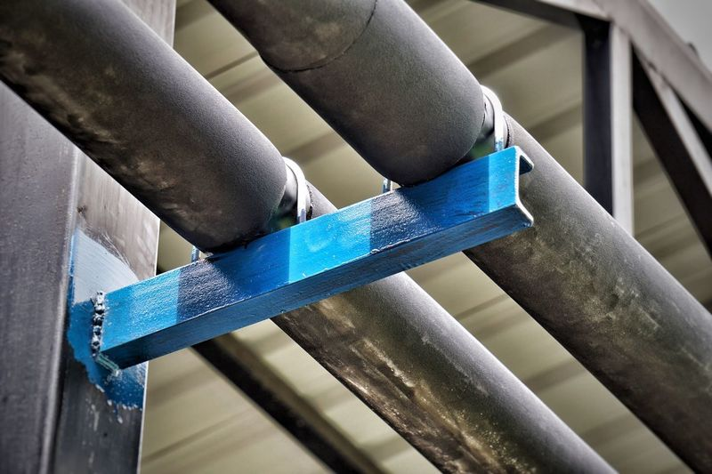 Piping Work Piping Work Insulation Pipe Support Pipe - Tube Blue Metal Close-up Indoors