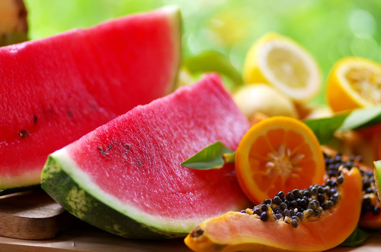 sliced papaya, watermelon and citrus fruit Citrus Fruits Close-up Cross Section Food Food And Drink Freshness Fruit Healthy Eating Papaya Ripe Selective Focus SLICE Table Watermelon🍉🍉🍉