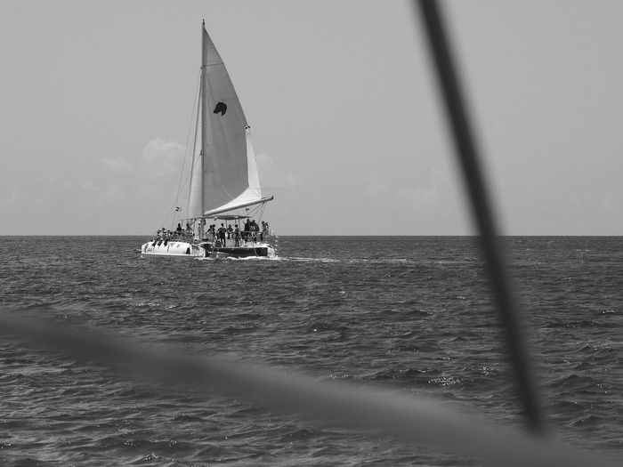 Nautical Vessel Catamaran Sailing The Seas Carribbean Sea Sky Looking Through Sail Ropes From A Distance Black And White Photography