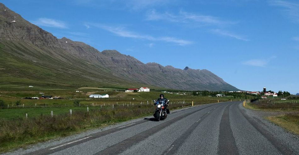 On The Road Motorbike Taking Photo From My Car Landscape Nature Sky And Clouds Mountains Driving Home Norðfjörður