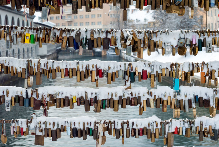 Full Frame Shot Of Snow On Padlocks