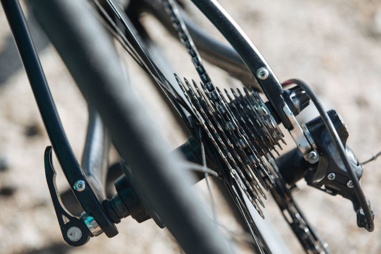 Close-up of gears in bicycle wheel