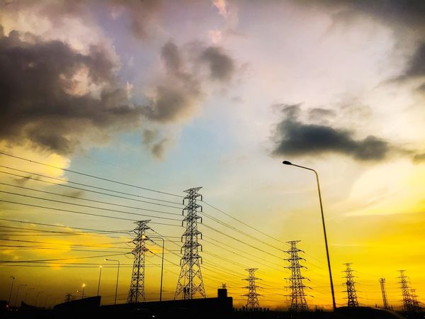 High Voltage Pole Technology Sunset Silhouette Dramatic Sky Bird Cloud - Sky Nature Multi Colored Sky Flock Of Birds Outdoors Rural Scene Landscape Beauty In Nature Electricity  Scenics