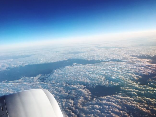 Breathing Space Aerial View Airplane Transportation Nature Blue No People Beauty In Nature Air Vehicle Scenics Day Journey Sky Flying Outdoors Tranquility Airplane Wing Travel Tranquil Scene Cloud - Sky
