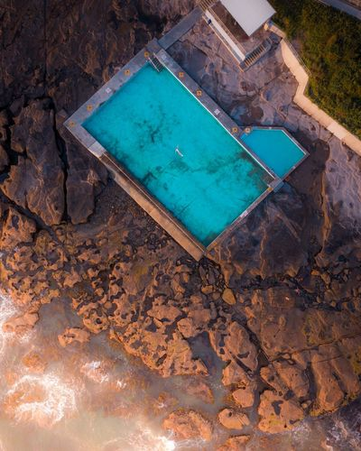 Rise and shine. Drone  Dronephotography Topdown Lookdown HighResolution Birds Eye View Aerial Aerial View Daily Life Drone Photography High Resolution Sunrise Rockpool Rock Pool Beach Beachside Beauty In Nature Hot Spring Turquoise Colored Poolside Sand Shore Sandy Beach