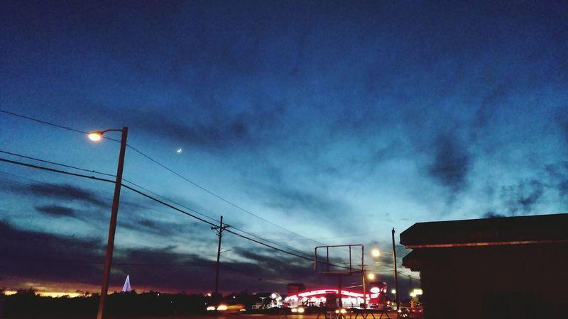 Tonights skyline Skyline Crescent Moon Clouds Sunset