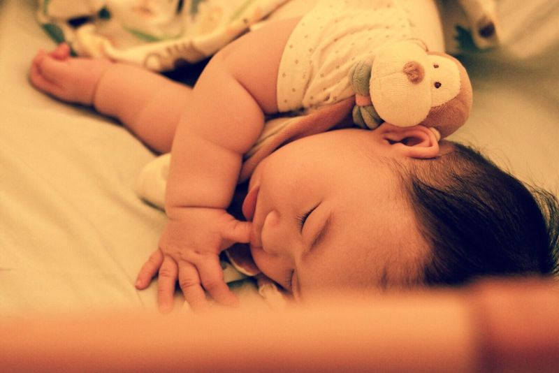 Bed Indoors  Lying Down Eyes Closed  High Angle View Bedroom Close-up Cute Baby New Born Infantry Infant Boy ASIA Sleeping Clouse-up Portrait
