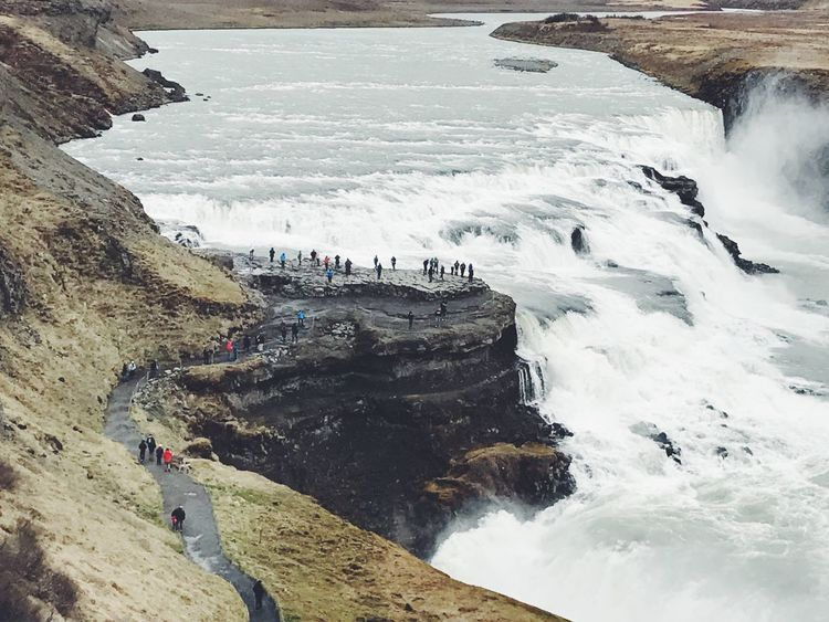 Gullfoss, Iceland Rock - Object High Angle View Water Nature Beach Large Group Of People Day Sea Outdoors Travel Destinations Vacations Beauty In Nature Men Waterfall Scenics People Women Adult Wave Power In Nature Iceland Iceland Trip Iceland_collection The Great Outdoors - 2017 EyeEm Awards Cliff The Great Outdoors - 2017 EyeEm Awards Lost In The Landscape