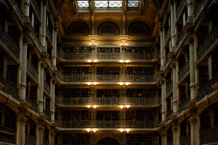 George Peabody Library, Interior, 2018 Architecture Built Structure Indoors  No People Illuminated Travel Destinations Building Arch The Past History Window Pattern In A Row Ceiling Travel Tourism Architectural Column Ornate Architecture And Art EyeEmNewHere