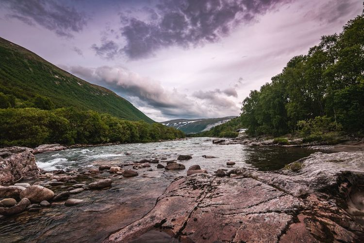Magalaupe river in Norway Nature Nature_collection Magalaupe Mountain Water Tree Astronomy Sky Cloud - Sky Landscape Dramatic Sky Atmospheric Mood Waterfall Flowing Water Stream - Flowing Water Stream Power In Nature Flowing Romantic Sky
