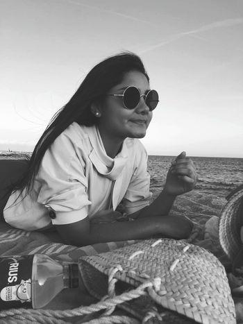 Sea Child Sitting Beach Childhood Girls Sunglasses Young Women Sky