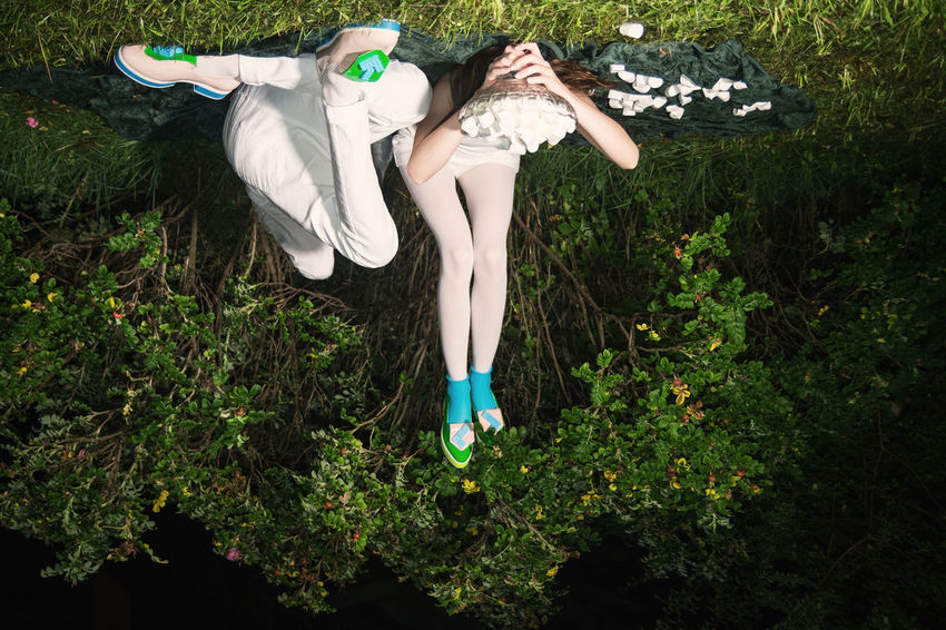 The Devil's Picnic Couple Date Linas Was Here Long Legs Love Marshmallows Picnic Bushes Cashmere Green Nature Shoes Fashion Upside Down White Clothes